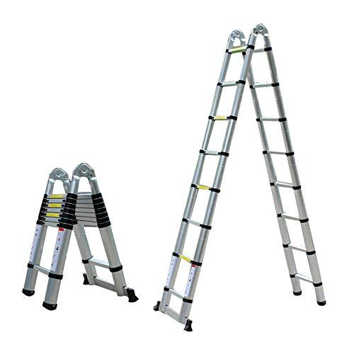 YIYIBY Escalera multifuncional escalera telescópica, escalera plegable de aluminio antideslizante extraíble robusta escalera de tijera de 5M