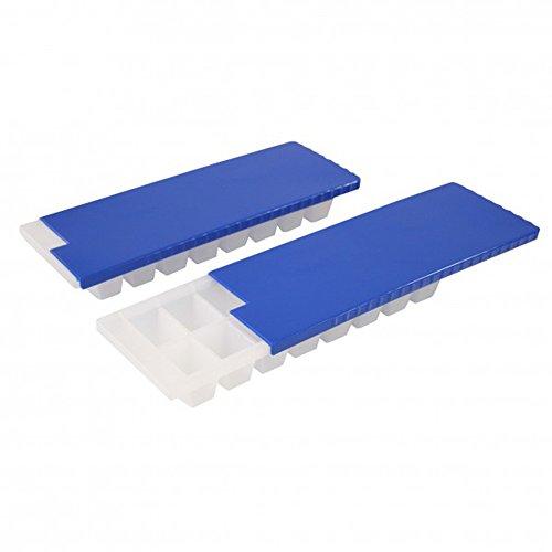 com-four® 2X Bandeja para Cubitos de Hielo para un Total de 32 Cubitos de Hielo - Recipiente para Cubitos de Hielo con Tapa - Seguro y sin Fugas (02 Piezas - Azul con Tapa - 8x2)
