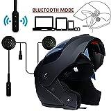 MOPHOTO Casque de moto intégral avec casque Bluetooth, modulable à double visière...