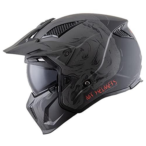 Casco De Moto De Cara Completa Con Visera Parasol ECE Homologado Casco Integral Para Motocicleta Con Protector Facial Desmontable Casco Combinado Compacto De Carreras De Motocross E,XXL