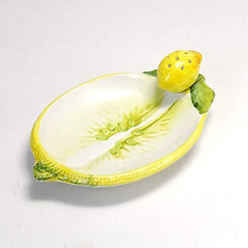 イタリア製 陶器 レモン モチーフ トレイ ハンドメイド 前菜 プレート ようじ立て付き 洋食器 bre-204le