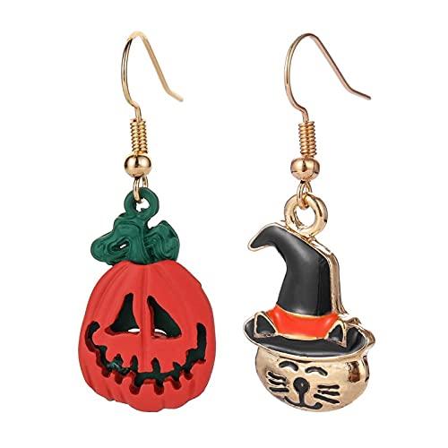 DFDLNL Pendientes para MujerPendientes de Halloween Pendientes Redondos de Monstruo de Calabaza Fiesta de Vacaciones Regalode MujerA