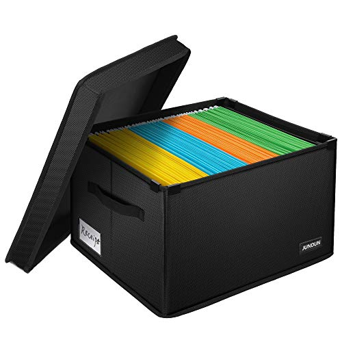 JUNDUN File Box, Fireproof File Organizer Box with Lid,Collapsible Document Storage Filing Box with Handle,Portable Safe Storage Box Cabinet for Office Home,Hanging Letter Size Legal Folder,Black