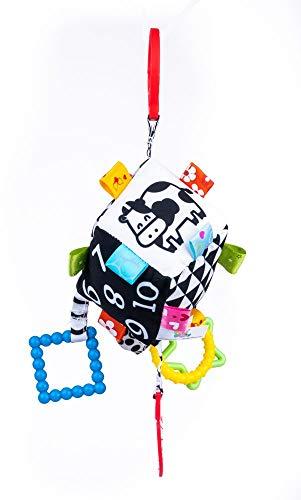 Balibazoo, 80138 Sensory Cube, Baby Spielzeug , Senoric Education Soft Plush, weiche Würfel mit Beißring, Glocke und Rassel ab 0 Monaten