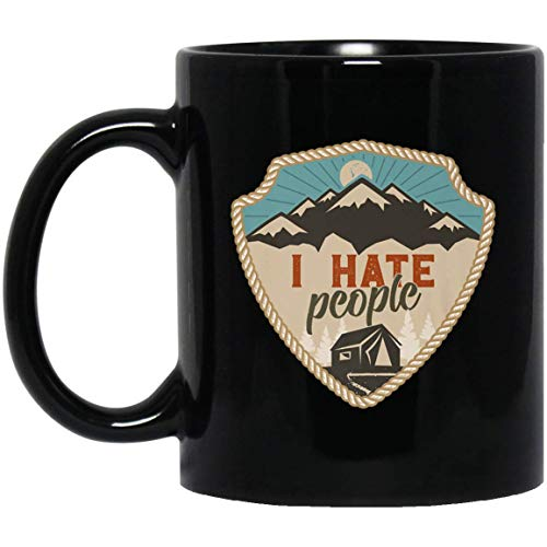 I Hate People Life Is Better Around The Campfire 11 oz. Black Mug