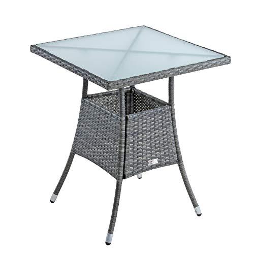 ESTEXO Polyrattan Gartentisch Beistelltisch Rattan Tisch Balkontisch Gartenmöbel Terrassentisch 60x60 cm (Anthrazit-Grau)