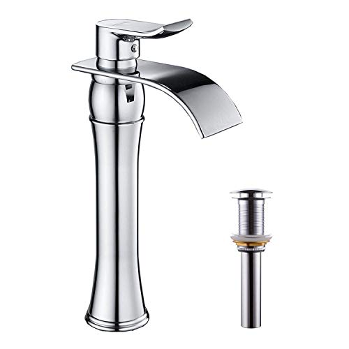 BWE Waterfall Spout Single Handle One Hole Chrome Bathroom Vessel Sink Faucet Deck Mount With Matching Pop Up Drain With Overflow Commercial