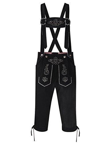 GloryStar Mens German Bavarian Traditional Lederhosen For Oktoberfest Leather Trousers With Suspenders Carnival Halloween