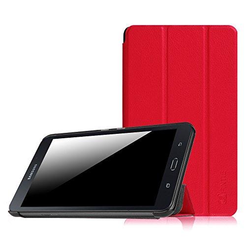 Fintie Hülle für Samsung Galaxy Tab A 7.0 Zoll SM-T280 / SM-T285 Tablet (2016 Version) - Ultra Schlank Superleicht Ständer Slim Shell Hülle Cover Schutzhülle Etui Tasche, Rot