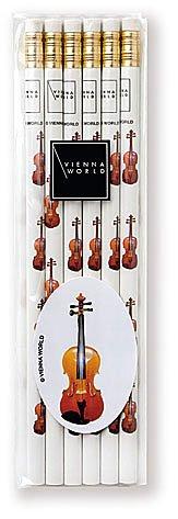Crayons à papier avec gomme - Violon - Lot de 6 - Cadeau musique
