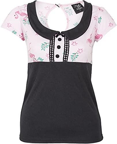 Küstenluder Damen Oberteil Sinija Flamingo Blumen Shirt Schwarz XL
