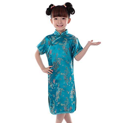 XFentech Cheongsam Vestido para Niña - Clásico Manga Corta Qi Pao Dragón y Fénix Chino Tradicional Fiesta Vestido Traje de Rendimiento, Lago Azul, Tag 8(110cm Altura Recomendada