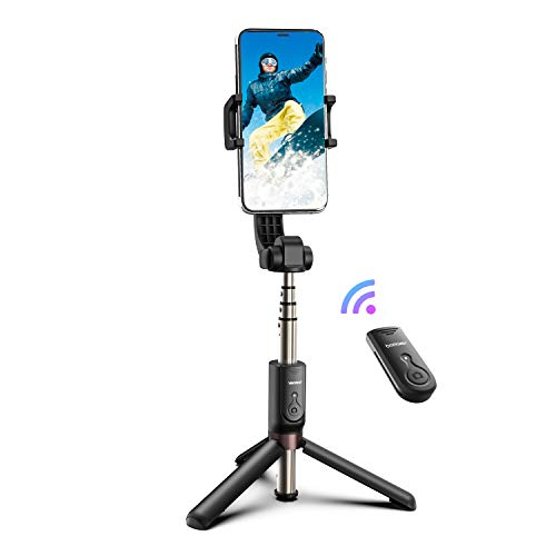 BOMAKER Foldable Gimbal Stabilizer, Extendable Cell Phone Tripod Selfie Stick with Bluetooth Wireless Remote, Compatible with iPhone Android Smartphone