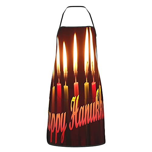 Funny Aprons Happy Hanukkah! for Men, Women with 2 Pockets for Grilling Cooking Chef Kitchen Crafting BBQ Outdoors