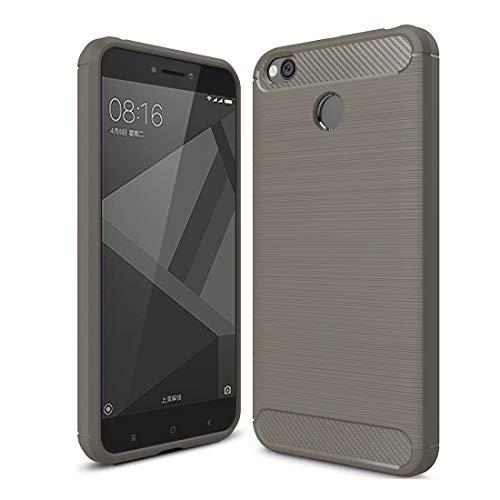 Dmtrab Thone Case para Funda Xiaomi Redmi 4X, Fijas de Fibra de Carbono cepillada TPU TPU Funda Protectora (Negro) Manga (Color : Grey)