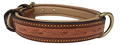 Soft Touch Collars - Padded Leather Dog Collar, Custom Handmade Hand Tooled with Genuine Real Leather, Large Brown
