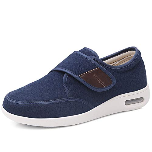Nwarmsouth Hausschuhe Klettschuhe Senioren,Warme Diabetikerschuhe, verstellbare Schuhe für ältere, geschwollene Füße-Blue_36,Geschwollene Füße Schuhe Pantoffeln