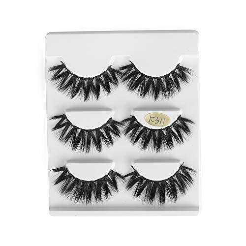 3 Pairs Resuable Handmade Dramatic Wispy Cross 25mm Lashes 3D Soft Mink Hair Eye Lash Extension False Eyelashes(K311)