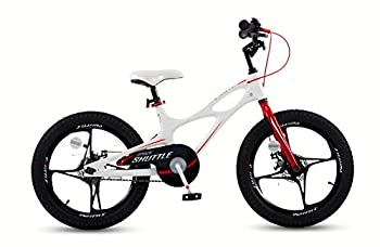RoyalBaby Boys Girls Kids Bike 18 Inch Space Shuttle Magnesium Bicycles with Kickstand Child Bicycle White