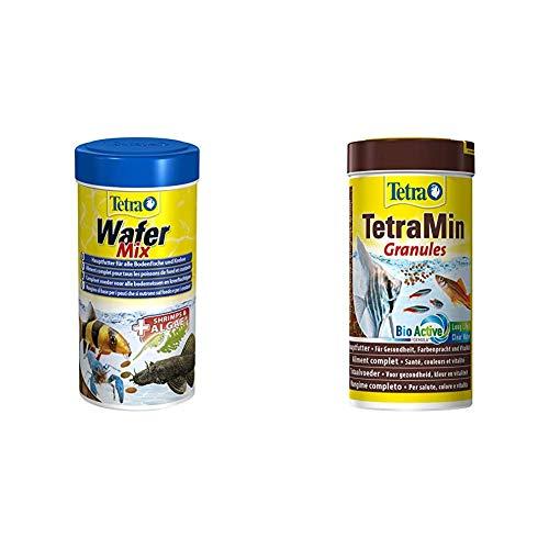 Tetra Wafer Mix - Fischfutter für alle Bodenfische (z.B. Welse) und Krebse, für gesundes Wachstum und eine bessere Widerstandskraft, 250 ml als Set mit TetraMin Granules 250 ml