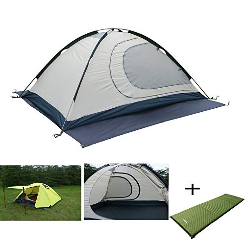 Luxe Tempo 2 Person 4 Season Tents with Free Mattress Freestanding for Camping Backpacking Aluminum Poles All Weather Tested & Approved 2 Door 2 Vestibules Reflective
