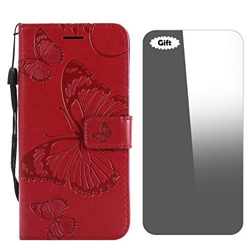 Galaxy J5 Prime / On5 2016 Hülle, Conber Lederhülle Handyhülle mit [Frei Schutzfolie], PU Tasche Leder Flip Case Cover 3D Schmetterling Schutzhülle für Samsung Galaxy J5 Prime / On5 2016 - Rot