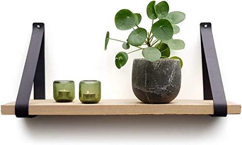 Regalträger aus Leder | Schwarz | 6 Stück | 100% Vollnarbenleder | Regalhalterung | Lederne regalträger | Wandregal…