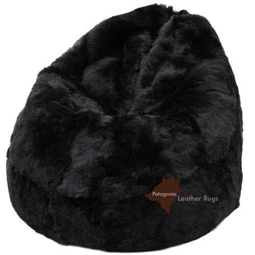 Patagonia Leather Rugs Sitzsack Pouf Lammfell Schaffell schwarz