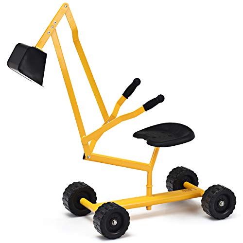 Costzon Kids Ride on Sand Digger with Wheels, Heavy Duty Steel Digging Scooper Excavator Crane with Rotatable Seat for Dirt, Snow, Beach, Outdoor Sandbox Play Toy