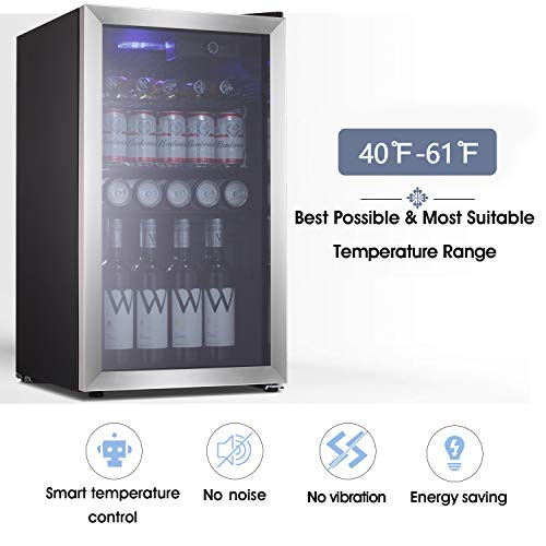 Beverage Refrigerator and Cooler - Drink Fridge with Glass Door for Soda, Beer or Wine - Small...