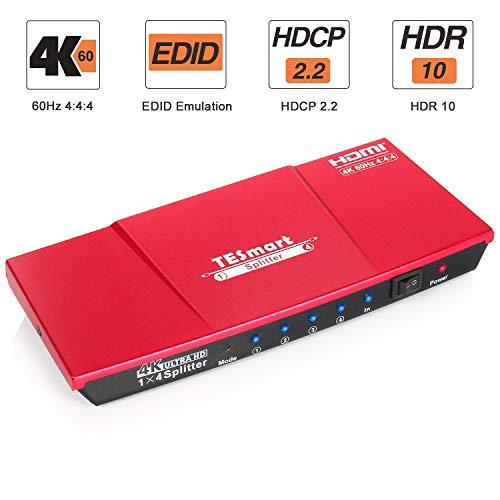 TESmart HDMI Splitter 4K 2.0 Certificado, HDMI Duplicador 1 Entrada 4 Salidas, Splitter HDMI 1 a 4 Amplificador Switch Box Hub Alimentado con Ultra HD 4K@60Hz 4:4:4 con Soporte EDID (Rojo)