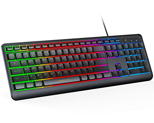 Jelly Comb Wired Keyboard, Wired Backlit Keyboard Full Size USB Keyboard, Gaming Keyboard Plug and Play for Windows Mac Laptop, PC, Computer, Ergonomic Keyboard Rainbow LED Backlit, UK QWERTY Layout