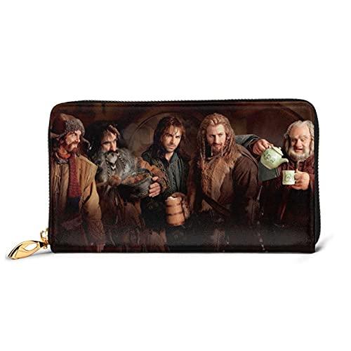 Hobbit - Cartera de piel con cremallera de piel, diseño de artesanía, personalización personalizada, gran capacidad, resistente y duradero