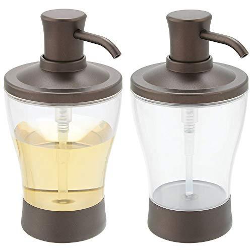 mDesign Juego de 2 dispensadores de jabón recargables – Dosificador para jabón de plástico – Elegante accesorio de baño o cocina para jabón, loción o aceites – transparente y bronce