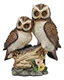 "Ebros Romantic 2 Great Horned Owl Couple On Tree Stump Statue 6.25"" Tall Whimsical Love Valentines Forest Nocturnal Brown Owls Figurine As Home Decorative Sculpture Accent"