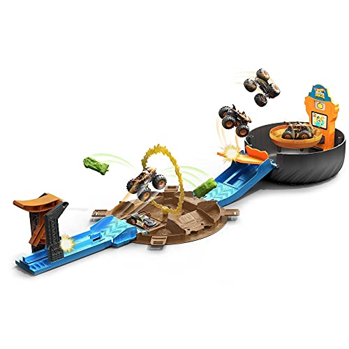 Hot Wheels Monster Trucks Stunt Tire Play Set Opens to Reveal Arena with Launcher for 2 Hot Wheels 1:64 Scale Cars or 1 Monster Truck to Crash