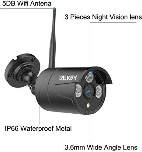 5MP Kit Videosorveglianza Wifi da Esterno con 2TB HDD, 8CH NVR+4x1920P IP66 Impermeabile CCTV Camera, Telecamera Sorveglianza Wireless Registrazione Audio Visione Notturna, Sensore di Movimento-REIGY