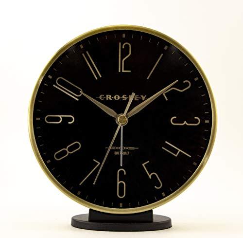 Timelink Crosley Modern Art Deco Office and Desk Alarm Clock, Gold & Black, Gold