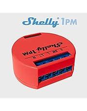Shelly 3809511202142 1PM Interruptor de relé Wi-Fi con vatímetro para control de circuito eléctrico con potencia máxima de 3.5 kW, compatible, rojo