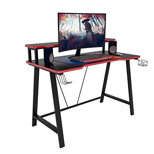 WOLTU Gaming Tisch TS124sz Ergonomic Gaming Schreibtisch Computertisch Bürotisch PC Laptop Tisch Gamer Tisch, mit Ablage, Getränkehalter und Kopfhörerhalter, 120x59.5x90.5cm(BxTxH), Schwarz+Rot
