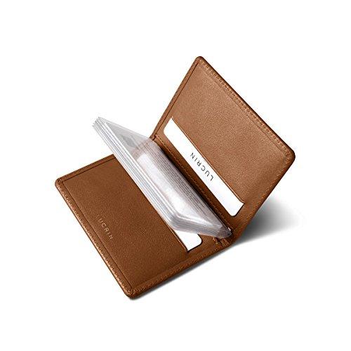 Lucrin - Tarjetero fino para tarjetas de crédito - Coñac - Cuero Liso
