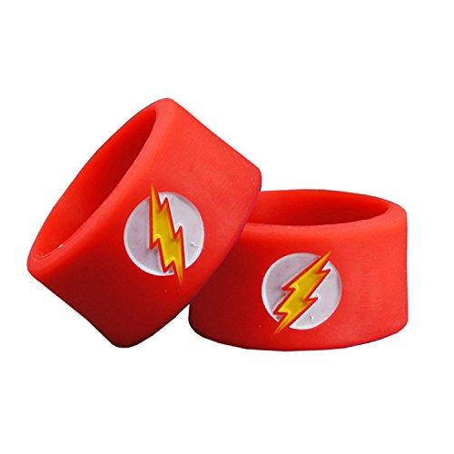 Superheroes Vape Bands, Gedrukt en diep reliëf Logo. Batman, Flash, Captain America, Superman - Authentieke VampCase 4pcs of Flash