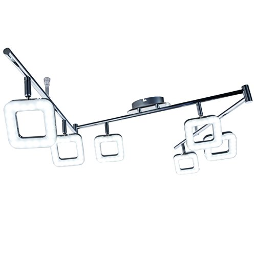 B.K. Licht plafonnier LED design moderne, 6 spots carrés orientables, 6 modules LED de 4W intégrés, IP20