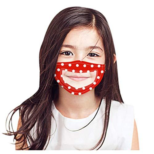 Kinder Kid Wave Dot Pattern Mund- und Nasenschutz Lippensprache sichtbar mit transparentem Fenster Gummiband 1St(G)
