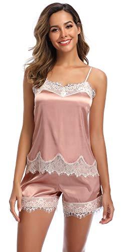 SHEKINI Damen Satin Zweiteiliger Schlafanzug mit Spitze Kurz Träger Nachthemd Klassische Nachtwäsche Pyjama Shorts mit Gummibund am(Stil 2 Pyjamas Set-Rosa,M)