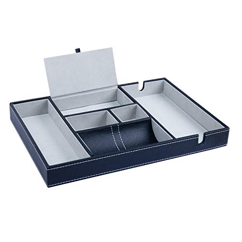 Valet Tray - 35.3x24.2cm Men's Leatherette Valet Organiser Tray with 6 compartments & 2 Notches for Phone Charging - Dresser Desk & Nightstand Organiser for Cufflinks, Watch, Wallet, Coins & Jewellery