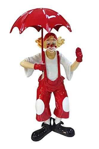 Oberle Dekofigur Clown mit Schirm rot weiß 20,5 cm Figur Karneval Köln Harlekin