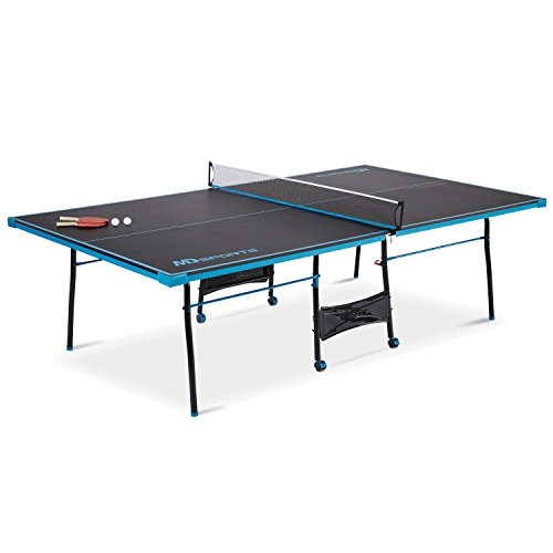 MD Sports NEW Official Size Table Tennis Table, with Paddle and Balls (Black/Blue)