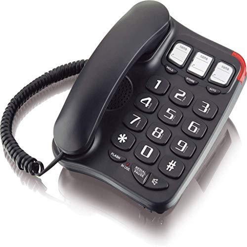 VERDELZ Teléfono con Cable con Botón Grande Teléfono con Cable con 3 Teclas De Marcación Rápida De Un Toque para Personas Mayores Línea Fija De Oficina De Alto Volumen