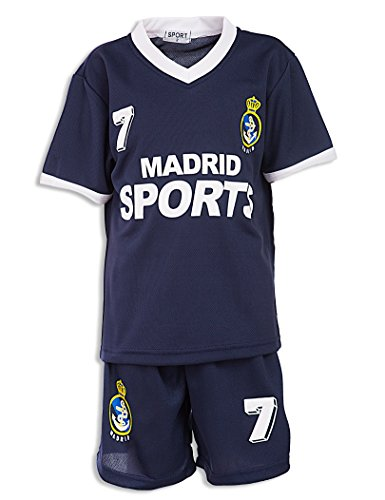 Top-Kiddy-Fashion 24brands - Jungen Fußball Set 2 Teilig Trainings Trikot Deutschland Italien Brasilien Spanien Türkei Schweiz Ländertrikot - 2630, Größe:92-98;Farbe:Madrid Blau